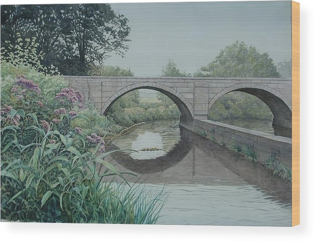 Landscape Wood Print featuring the painting Camillus Canal by Stephen Bluto
