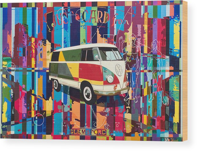 Vw Bus Wood Print featuring the painting Camouflage by Alfred Degens