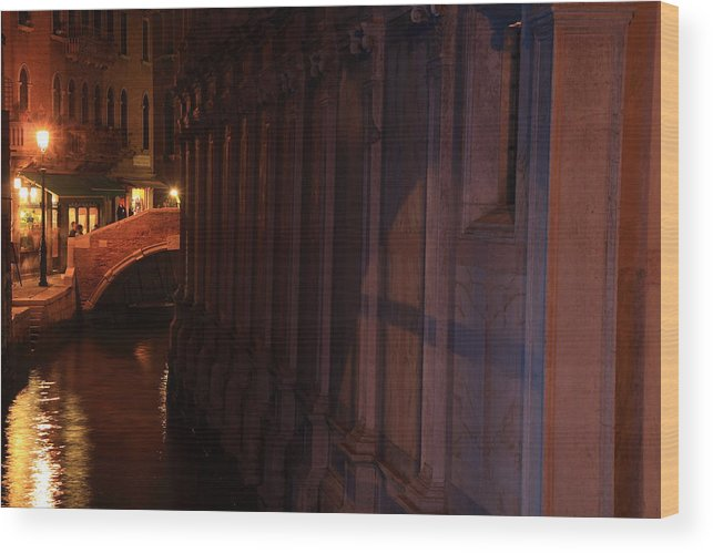 Venice Wood Print featuring the photograph Canal By The Church Of The Miracoli In Venice At Night by Michael Henderson
