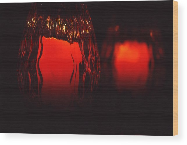 Still Life Wood Print featuring the photograph Candle Reflected by Barry Shaffer