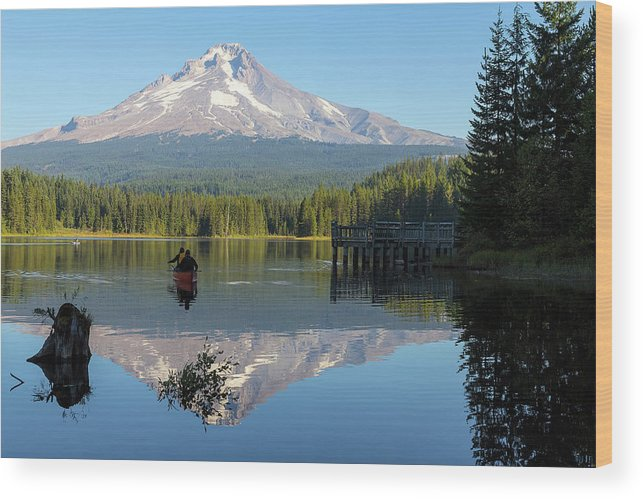 Canoe Wood Print featuring the photograph Canoeing At Trillium Lake by David Gn