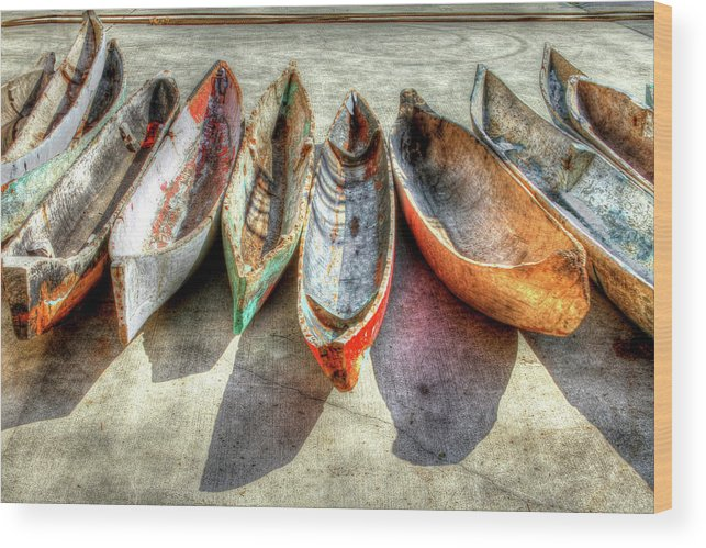 The Wood Print featuring the photograph Canoes by Debra and Dave Vanderlaan