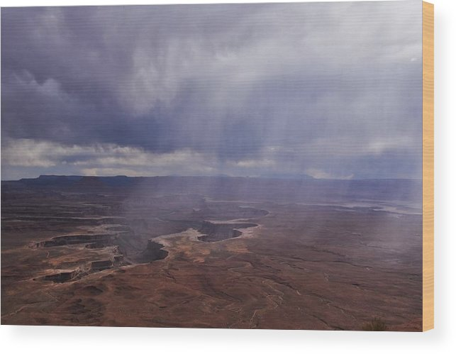 Canyonlands National Park Wood Print featuring the photograph Canyonlands Rain On The Green River by Flo McKinley