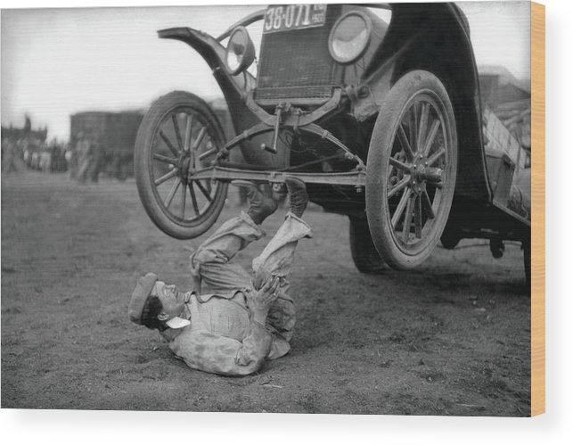 Circus Wood Print featuring the photograph Car Lifter by Unknown