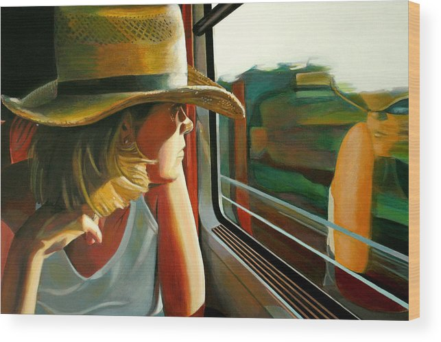 Girl Wood Print featuring the painting Carla Traveling by Jose Roldan Rendon