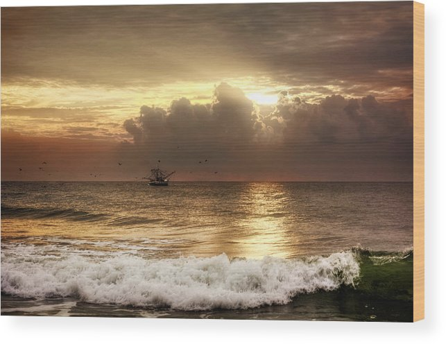 Beach Wood Print featuring the photograph Carolina Beach Shrimp Boat At Sunrise by Chrystal Mimbs