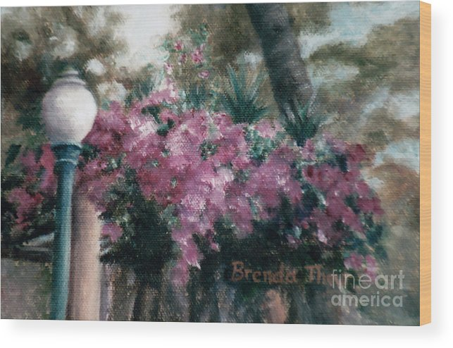 Flowers Wood Print featuring the painting Cascading Flowers by Brenda Thour