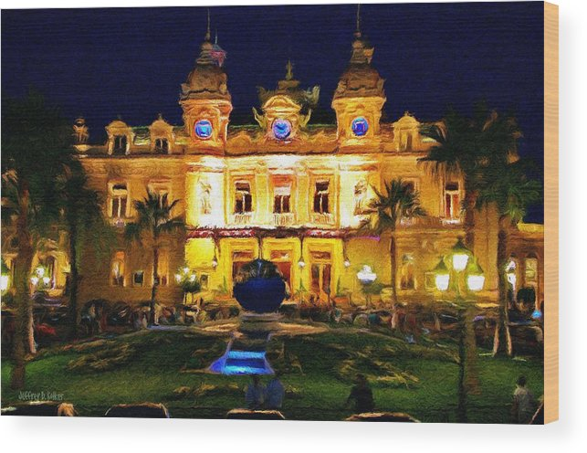 Casino Wood Print featuring the painting Casino Monte Carlo by Jeffrey Kolker