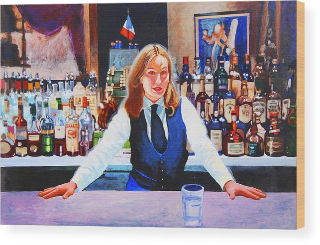 Bar Wood Print featuring the painting Cassis by John Tartaglione