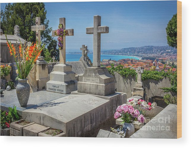 Castle Hill Wood Print featuring the photograph Castle Hill Graves Overlooking Nice, France by Liesl Walsh