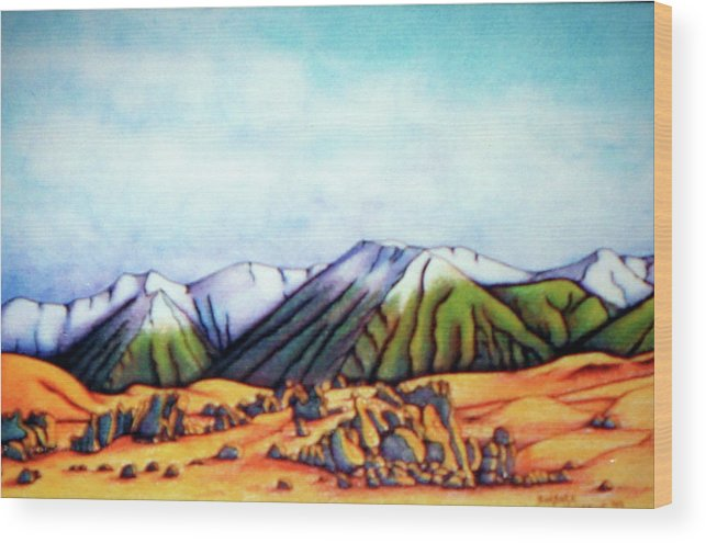 Landscape Wood Print featuring the painting Castle Hill Si Nz by Barbara Stirrup