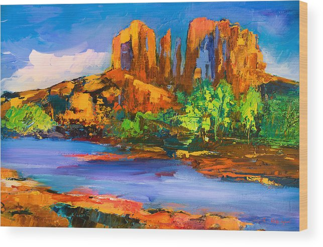 Sedona Wood Print featuring the painting Cathedral Rock Afternoon by Elise Palmigiani