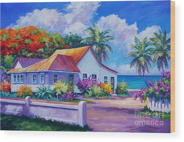 Artwork Wood Print featuring the painting Cayman Home by John Clark