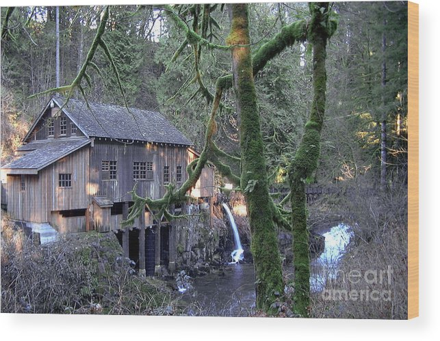 Landscape Wood Print featuring the photograph Cedar Creek Grist Mill by Larry Keahey