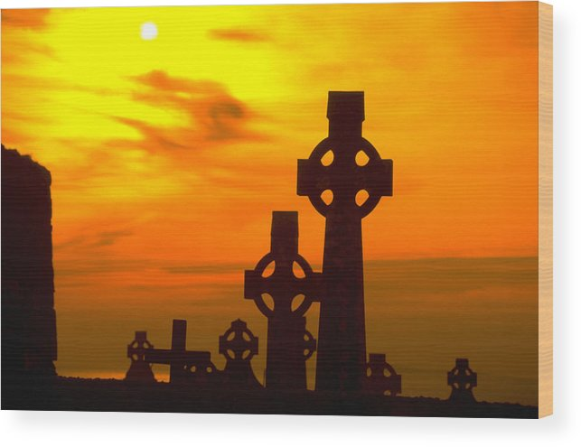 Christian Wood Print featuring the photograph Celtic Crosses In Graveyard by Carl Purcell
