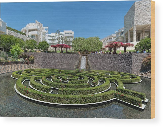Getty Center Wood Print featuring the photograph Central Garden by Michelle Choi
