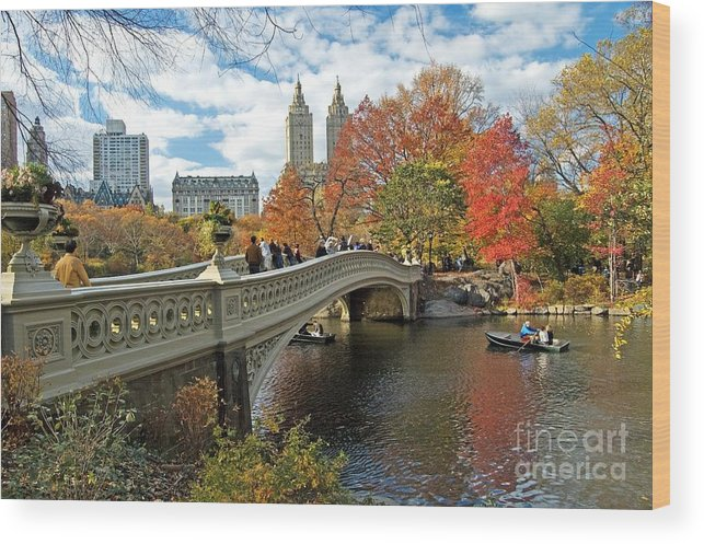 Autumn Wood Print featuring the photograph Central Park Autumn Cityscape by Allan Einhorn
