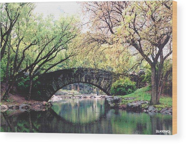Central Park Wood Print featuring the digital art Central Park Bridge by Al Blackford