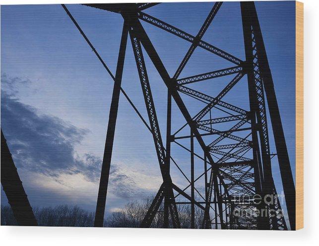 Bridge Wood Print featuring the photograph Chain Of Rocks Bridge by Elizabeth Donald