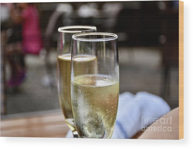 Adult Beverage Wood Print featuring the photograph Champagne Glasses by Jeramey Lende