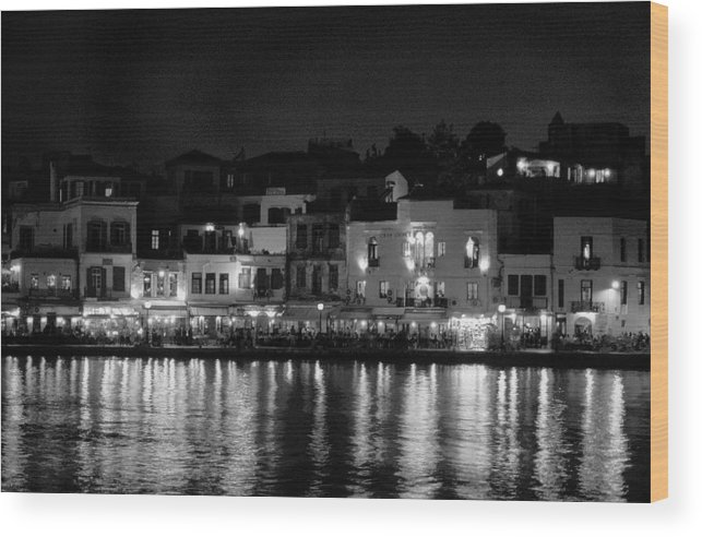 Lehtokukka Wood Print featuring the photograph Chania By Night In Bw by Jouko Lehto