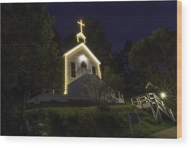 Church Wood Print featuring the photograph Chapel At Roche Harbor by Thomas Ashcraft