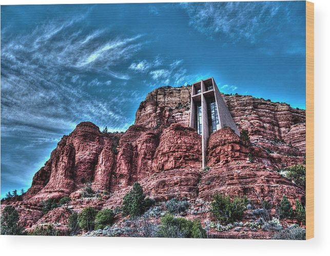 Sedona Wood Print featuring the photograph Chapel Of The Rock by Doc Hafferty