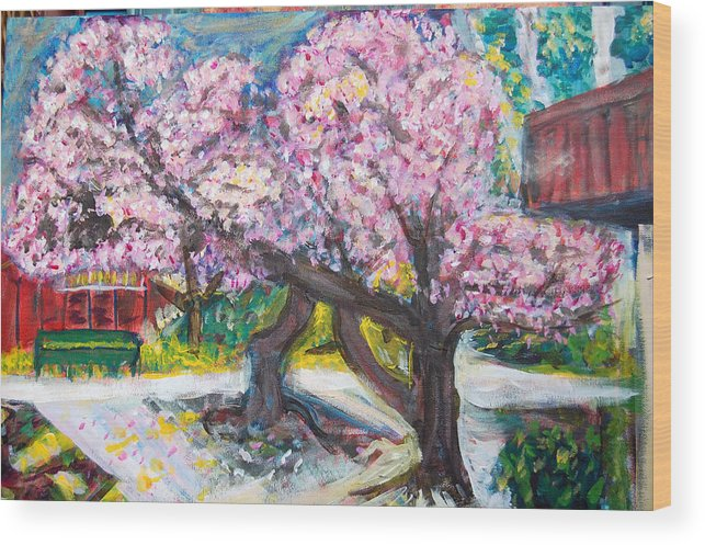 Cherry Tree Wood Print featuring the painting Cherry Blossom Time by Carolyn Donnell