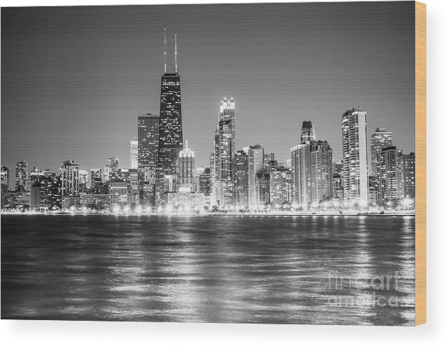 2012 Wood Print featuring the photograph Chicago Lakefront Skyline Black And White Photo by Paul Velgos