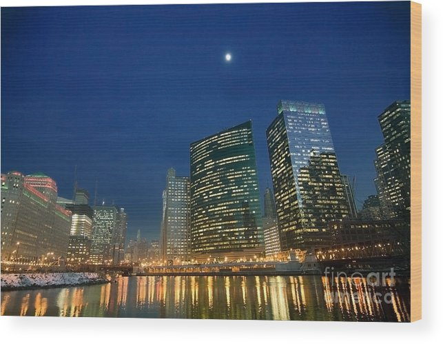 Chicago Skyline Wood Print featuring the photograph Chicago River With Skyline And Moon by Sven Brogren