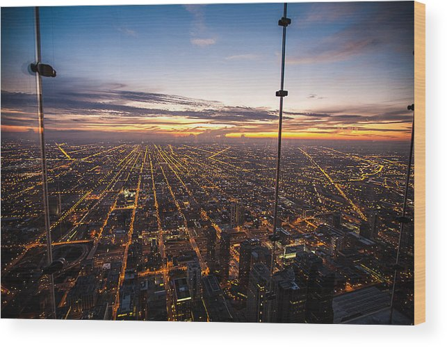 Travel Photography Wood Print featuring the photograph Chicago Skies by Alex Kotlik