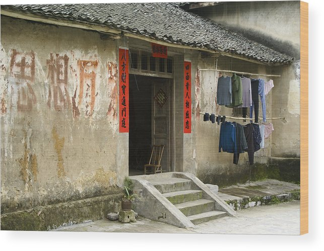 Asia Wood Print featuring the photograph Chinese Laundry by Michele Burgess