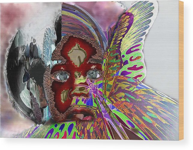 Portrait Wood Print featuring the mixed media Chrysalis by LeeAnn Alexander