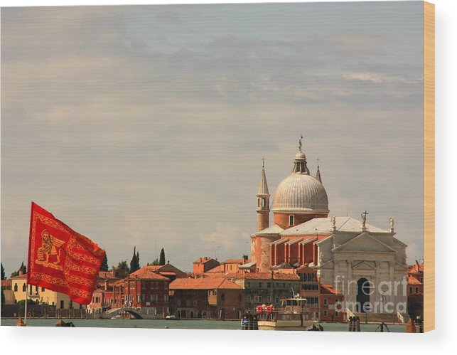 Venice Wood Print featuring the photograph Church Of The Redentore In Venice With Flag Of Venice by Michael Henderson