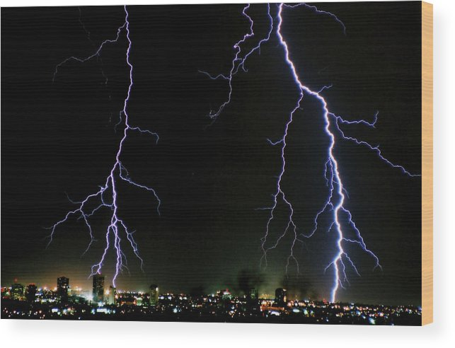 Arizona Wood Print featuring the photograph City Lights by Cathy Franklin