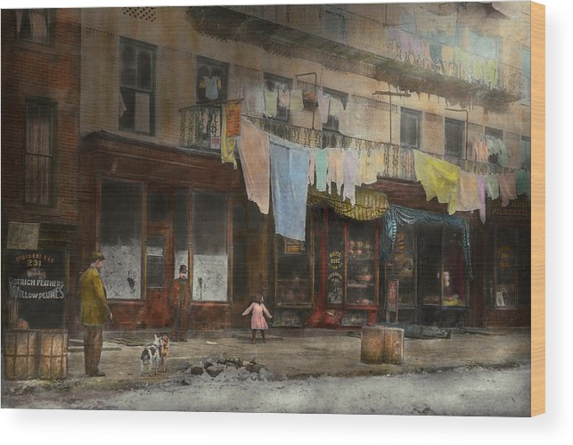 Self Wood Print featuring the photograph City - Ny - Elegant Apartments - 1912 by Mike Savad