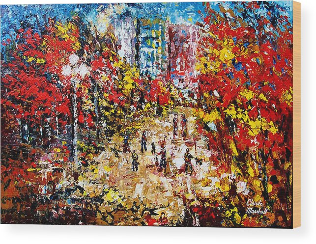 Abstract Wood Print featuring the painting City Park by Claude Marshall