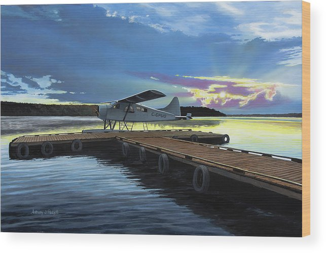 Plane Wood Print featuring the painting Clark's Air Service by Anthony J Padgett