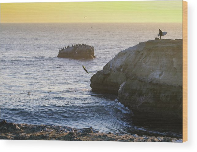 Wood Print featuring the photograph Cliff Jumping To Surf by Janine Moore