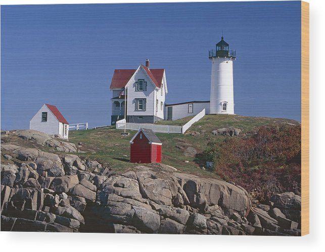 Architecture Wood Print featuring the photograph Close Up View Of A Lighthouse Cape Neddick Maine by George Oze