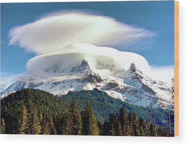 Mt Hood Wood Print featuring the photograph Cloud Capped Mount Hood by Craig Voth