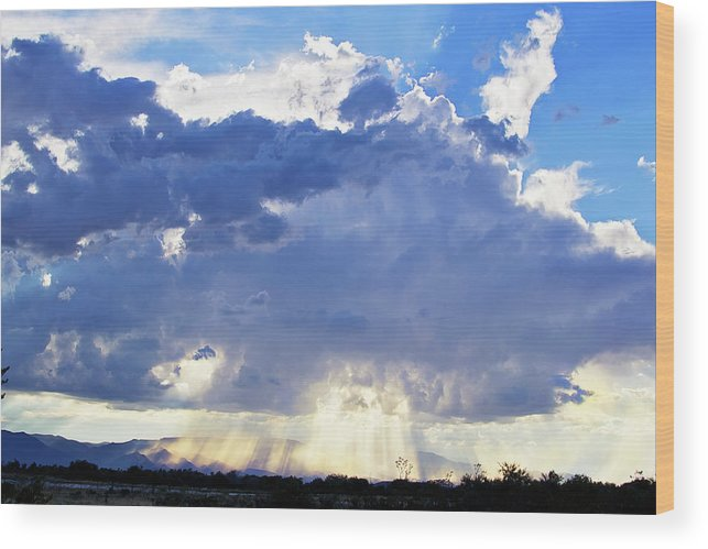 Clouds Wood Print featuring the photograph Cloud Storm On The Horizon by Micah Williams