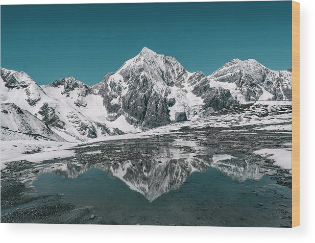 Mountain Wood Print featuring the photograph Cold Skies by Happy Home Artistry