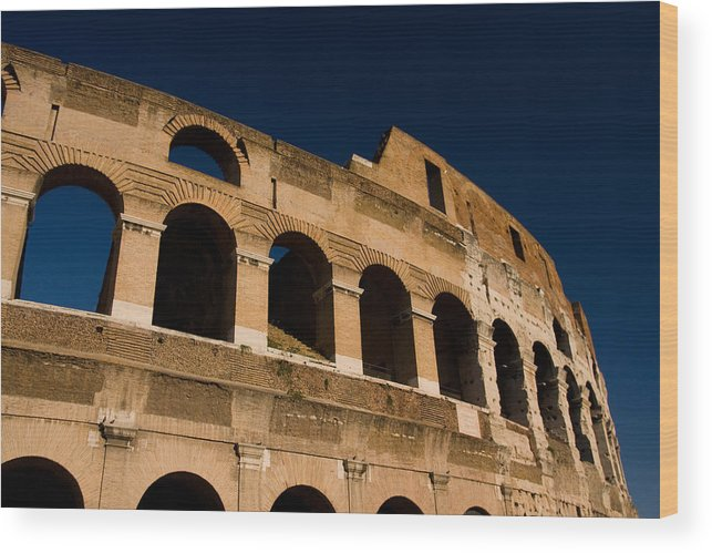Rome Wood Print featuring the photograph Colliseum 14 by Art Ferrier