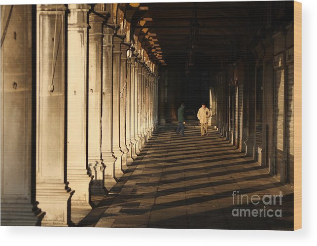 Venice Wood Print featuring the photograph Collonade At San Marco In Venice In The Morning by Michael Henderson