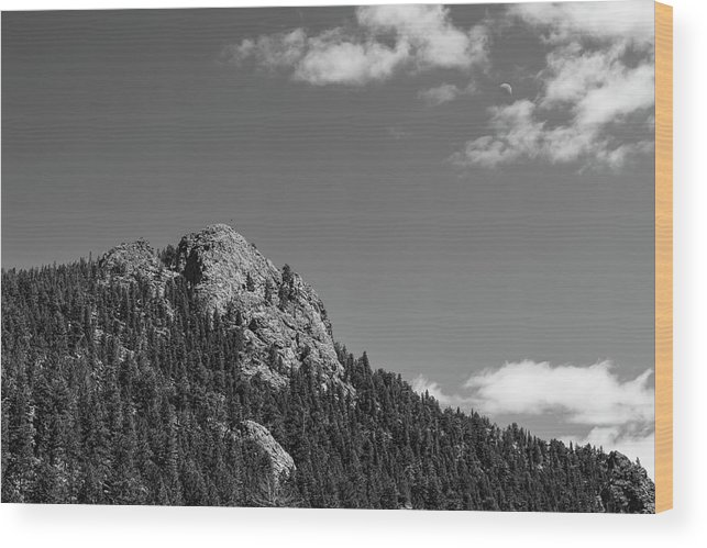 Black White Wood Print featuring the photograph Colorado Buffalo Rock With Waxing Crescent Moon In Bw by James BO Insogna
