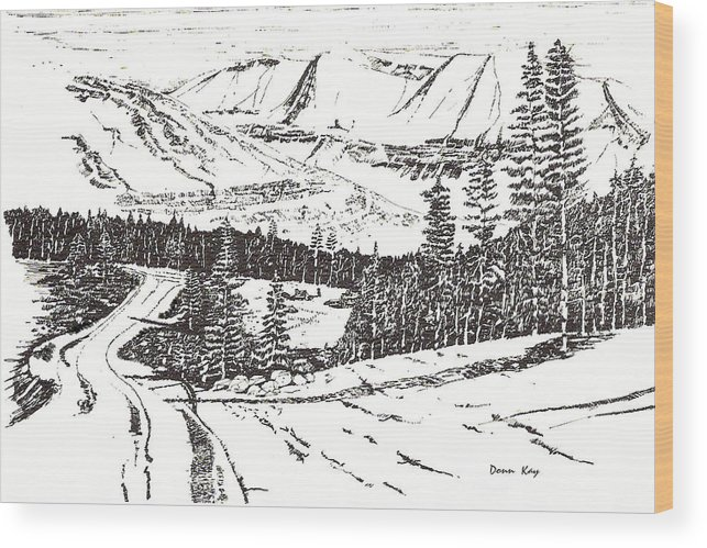 Colorado Mountains Snow Ink Drawing Wood Print featuring the drawing Colorado Mountain Foothills by Donn Kay