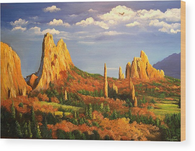 Connie Tom Wood Print featuring the painting Colorado Red Rocks by Connie Tom