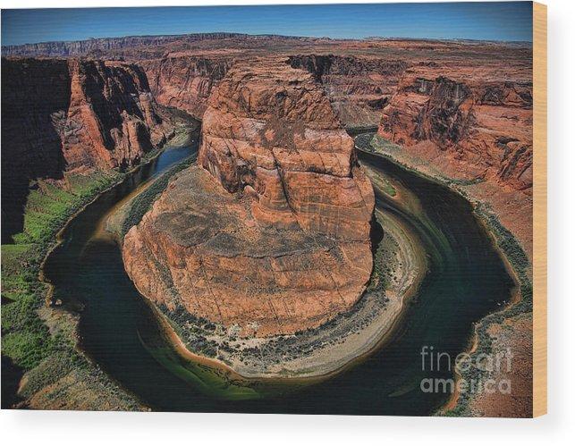 Horseshoe Bend Wood Print featuring the photograph Colorado River Circles Horseshoe Bend Page Arizona Usa by Chuck Kuhn