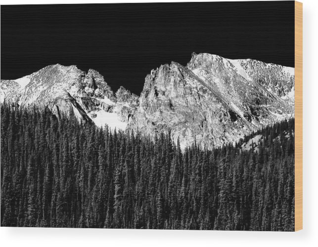 Indian Peaks Wood Print featuring the photograph Colorado Rocky Mountains Indian Peaks Fine Art Bw Print by James BO Insogna